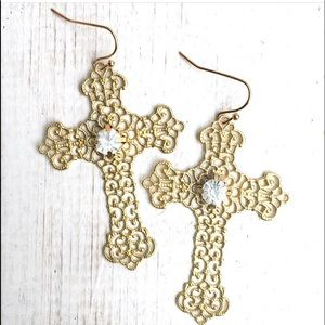 Gold Cross Boho Earrings